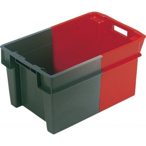 Bac gerbable emboitable PEHD gris/rouge 50l